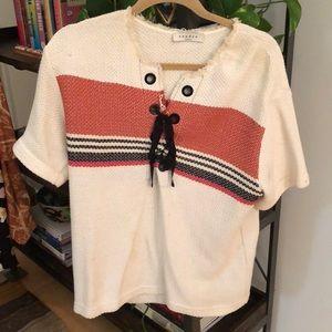 Sandro Boxy Striped Canvas Shirt Size 1